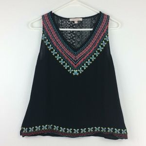 Anthropologie Skies are Blue black/ embroidery top